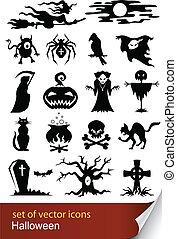 conjunto, halloween, icono