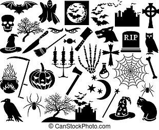 conjunto, halloween, iconos