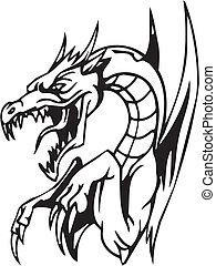 conjunto, -, halloween, ilustración, dragón, vector