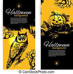 conjunto, halloween, ilustración, mano, banners., dibujado