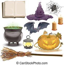 conjunto, halloween, objetos