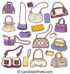 conjunto, handbags., mujeres, vector, dibujado, mano