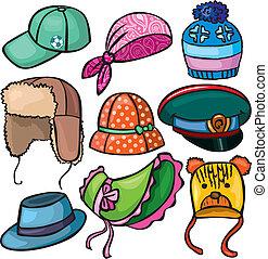 conjunto, headwear, iconos
