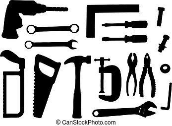 conjunto, herramienta, vector