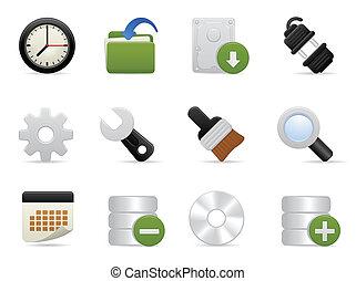 conjunto, herramientas, ajuste, icono