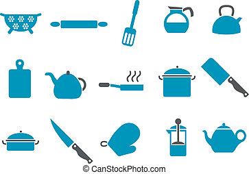 conjunto, herramientas, cocina, icono