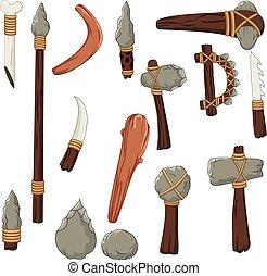 conjunto, herramientas, de, hombre prehistórico