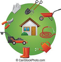 conjunto, herramientas, jardín, icono