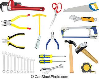 conjunto, herramientas, mano