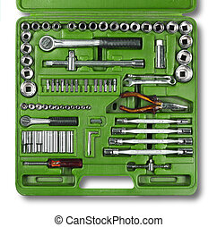 Conjunto, herramientas, mecánico