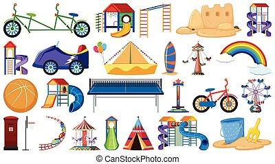 conjunto, herramientas, patio de recreo