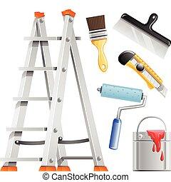 conjunto, herramientas, pintor