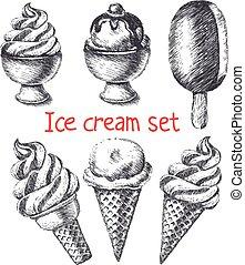 Conjunto, hielo, crema