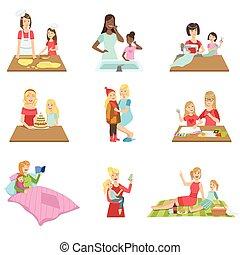 conjunto, hija, madre, juntos, tiempo, ilustraciones, paso