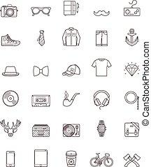 conjunto, hipster, contorno, icono
