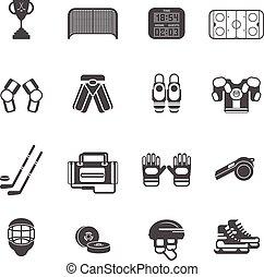 conjunto, hockey, hielo, iconos