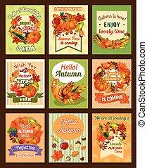 conjunto, hoja, cartel, otoño, retro, otoño, cosecha