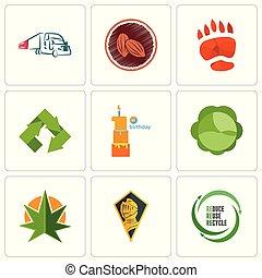 conjunto, hoja, uso repetido, iconos, simple, caballero, editable, mala hierba, uce, tal, 9, reciclar, cabeza
