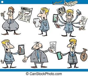 conjunto, hombres de negocios, caricatura