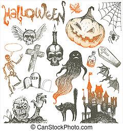 conjunto, horror, halloween, mano, vector, dibujado