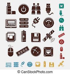 conjunto, hosting, iconos