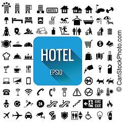 conjunto, hotel, espalda, vector, blanco, icono