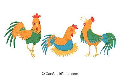 conjunto, huevos, sentado, vector, yarda, gallina, ambulante