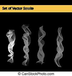 conjunto, humo, cigarrillo