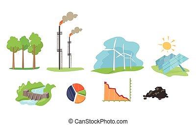 conjunto, hydro, energía solar, viento, electricidad, energía, ilustración, generación, instalaciones, vector, fuentes, plano de fondo, blanco