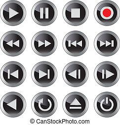 conjunto, icon/button, multimedia