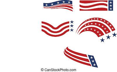 conjunto, icono, estados unidos de américa