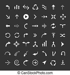 conjunto, icono flecha