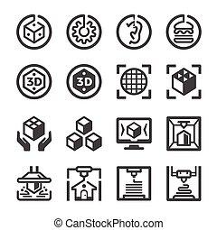conjunto, icono, impresión, 3d