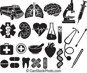 conjunto, icono, médico