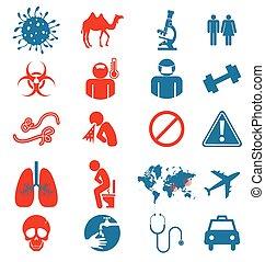 conjunto, icono, virus, mers