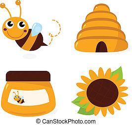 conjunto, iconos, aislado, abeja, miel, blanco
