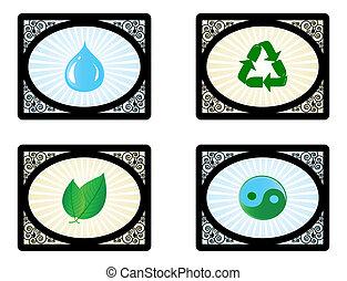 conjunto, iconos, aislado, ilustración, ambiente, vector, plano de fondo, blanco