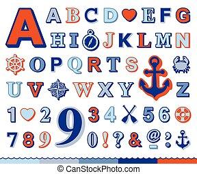 conjunto, iconos, alfabeto, número, náutico, marina