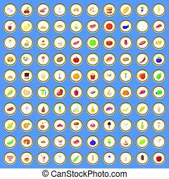 Conjunto, iconos, alimento,  vector,  100, caricatura
