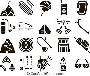 conjunto, iconos, alpinism, colección, elementos, vector