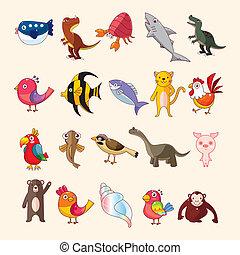 conjunto, iconos animales