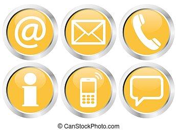 conjunto, iconos, botón, seis, nosotros, contacto