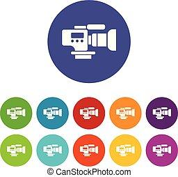 conjunto, iconos, cámara fotográfica de la tv, color, vector