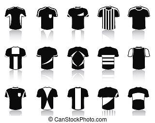 conjunto, iconos, camiseta, negro, futbol, ropa