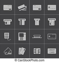 conjunto, iconos, carrito, credito, vector, negro