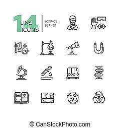 conjunto, iconos, ciencia, moderno, -, sola línea