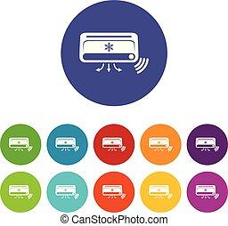 conjunto, iconos, color, aire, vector, condicionamiento