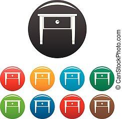 conjunto, iconos, color, cama, tabla, lado