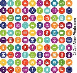 conjunto, iconos, color, casa, cómodo, 100