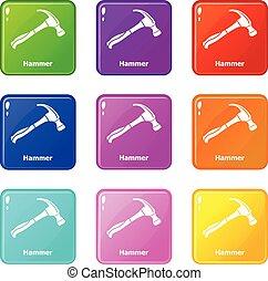 conjunto, iconos, color, colección, 9, martillo